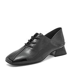 BASTO/百思图2019春季专柜同款黑色牛皮革漆皮方头系带女皮鞋RID30AM9