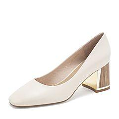 BASTO/百思图2019春季专柜同款米白色羊皮革通勤粗跟方头女皮鞋RUH23AQ9