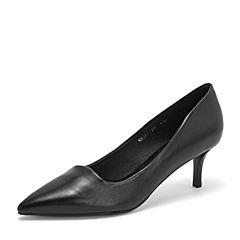 BASTO/百思图2019春季专柜同款黑色绵羊皮革简约通勤细跟浅口女皮鞋RRJ27AQ9