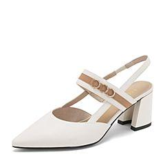 BASTO/百思图2019夏季专柜同款米白色牛皮革水钻尖头休闲粗跟女凉鞋RUF01BH9