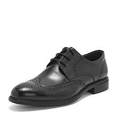BASTO/百思图2019春季专柜同款黑色牛皮革镂花商务休闲男皮鞋A1897AM9