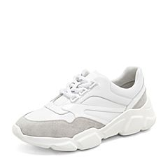 BASTO/百思图2019春季白色牛皮革系带坡跟满帮女休闲鞋ZAH04AM9