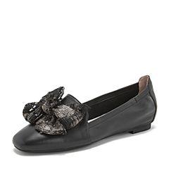 BASTO/百思图2019春季专柜同款黑色羊皮革蝴蝶结浅口纯色女单鞋CA907AQ9
