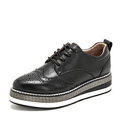 BASTO/百思图2019春季专柜同款黑色软面牛皮革镂花系带坡跟女皮鞋YPI07AM9