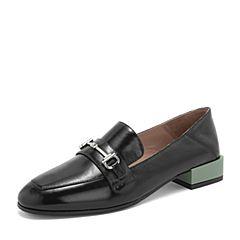 BASTO/百思图2019春季专柜同款黑色牛皮革休闲乐福鞋女皮鞋TAG01AQ9