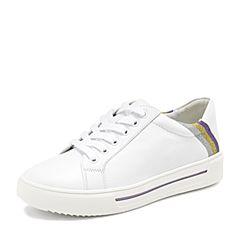 BASTO/百思图2019春季专柜同款白/紫/金/银牛皮革条纹小白鞋女休闲鞋YYC12AM9