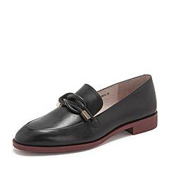 BASTO/百思图2019春季专柜同款黑色牛皮革简约纯色方跟女单鞋WAD02AQ9