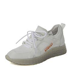 BASTO/百思图2019春季白色弹力布/TPU坡跟简约女休闲鞋A1981AM9