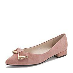 BASTO/百思图2019春季专柜同款粉色羊皮革蝴蝶结浅口尖头方跟女单鞋A5808AQ9