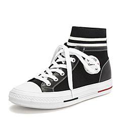 BASTO/百思图2019春季黑色纺织物/超纤PU革学院风高帮女休闲鞋YZQ04AM9