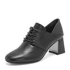 BASTO/百思图2019春季专柜同款黑色牛皮革系带粗高跟纯色女皮鞋A2101AM9