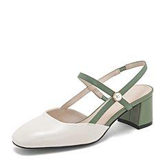 BASTO/百思图2019夏季专柜同款白/绿色牛皮革拼色方跟休闲女皮凉鞋AC651BH9