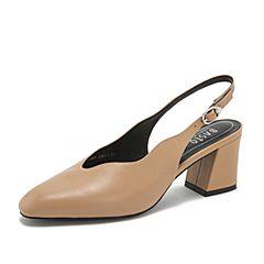 BASTO/百思图2019夏季专柜同款杏色牛皮革一字带方跟休闲女皮凉鞋AC503BH9