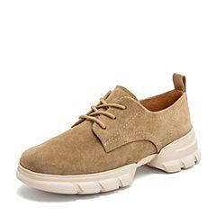 BASTO/百思图2019春季专柜同款杏色羊绒皮革系带坡跟女休闲鞋RVD27AM9