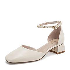 BASTO/百思图2019夏季专柜同款米白色绵羊皮革休闲女皮凉鞋RTX09BK9