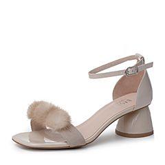 BASTO/百思图2019夏季专柜同款浅米贴膜皱漆牛皮革休闲女皮凉鞋RXI04BL9
