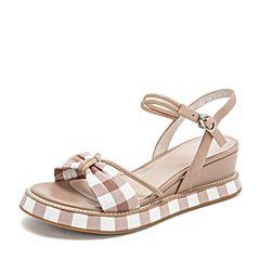 BASTO/百思图2019夏季粉色羊皮革格子布蝴蝶结甜美休闲女凉鞋TCN24BL9