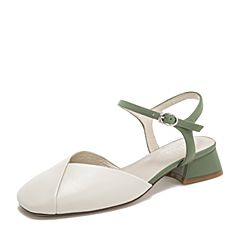 BASTO/百思图2019夏季专柜同款杏/绿色荔纹牛皮革一字带休闲女皮凉鞋RID10BH9