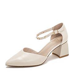 BASTO/百思图2019夏季专柜同款米白色绵羊皮革休闲女皮凉鞋RLH16BK9