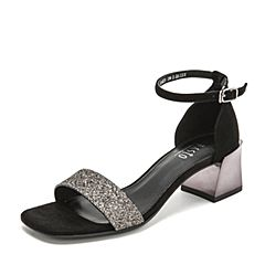 BASTO/百思图2019夏季专柜同款银黑/黑色亮片布休闲女凉鞋RNK25BL9