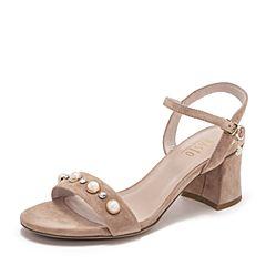 BASTO/百思图2019夏季专柜同款浅粉色羊绒皮革闪钻休闲女皮凉鞋RVB02BL9