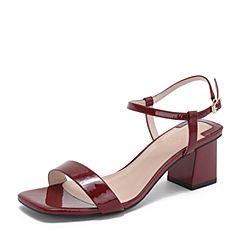 BASTO/百思图2019夏季专柜同款酒红色双色漆牛皮革休闲女皮凉鞋RVE17BL9