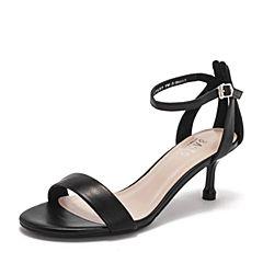 BASTO/百思图2019夏季专柜同款黑色绵羊皮革休闲女皮凉鞋RVM02BL9