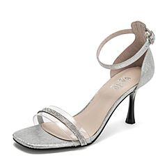 BASTO/百思图2019夏季专柜同款银色贴膜羊皮革休闲女皮凉鞋RVW07BL9