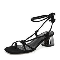 BASTO/百思图2019夏季专柜同款黑色羊绒皮革绑绳休闲女皮凉鞋RXI01BL9