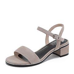 BASTO/百思图2019夏季专柜同款灰色羊绒皮革休闲女皮凉鞋RXJ01BL9