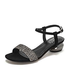 BASTO/百思图2019夏季专柜同款银色亮片布休闲女凉鞋RXK02BL9