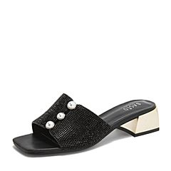 BASTO/百思图2019夏季专柜同款黑色软面羊皮革休闲女皮凉鞋WAV04BL9