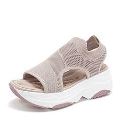 BASTO/百思图2019夏季专柜同款粉色纺织物网面休闲女凉鞋ZCB12BL9