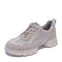 BASTO/百思图2019春季杏色牛皮革/纺织品系带坡跟女休闲鞋R8788AM9