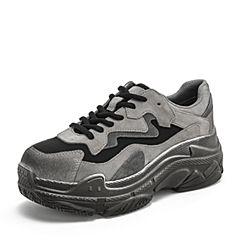 BASTO/百思图2019春季专柜同款深灰色剖层牛皮革/纺织物系带坡跟老爹鞋女休闲鞋YSR14AM9