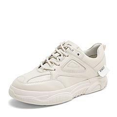 BASTO/百思图2019春季专柜同款米色软面牛皮革系带女休闲鞋ZDL01AM9