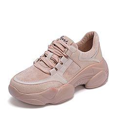 BASTO/百思图2019春季专柜同款粉色人造革/纺织品系带拼色坡跟女休闲鞋老爹鞋AS258AM9