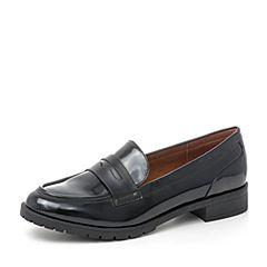 BASTO/百思图2019春季黑色人造革纯色漆皮女皮鞋IA182AQ9