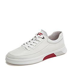 BASTO/百思图2019春季专柜同款米白色牛皮革男休闲鞋H6910AM9