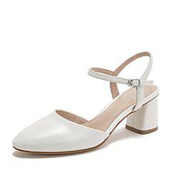 BASTO/百思图2019夏季白色绵羊皮革纯色方跟休闲女皮凉鞋RXF01BH9