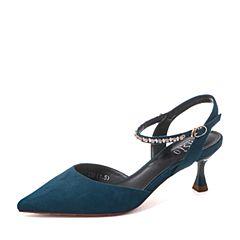 BASTO/百思图2019夏季专柜同款蓝色人造革闪钻绒面休闲女凉鞋MA9M7BH9