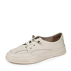 BASTO/百思圖2019秋季專柜同款米白移膜羊皮革小白鞋女休閑鞋ZGU02CM9