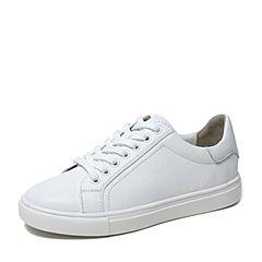 BASTO/百思圖2019秋季專柜同款白色軟面牛皮革小白鞋女休閑鞋YPQ32CM9