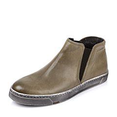 Bata/拔佳冬季专柜同款橄榄绿牛皮男休闲靴(超软)82P42DD5