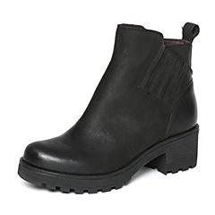 Bata/拔佳冬季专柜同款黑色简约粗跟油皮牛皮女短靴AF550DD6