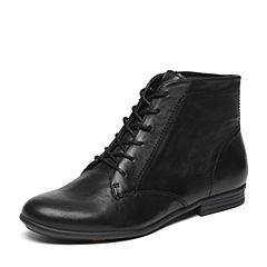 Bata/拔佳冬季专柜同款黑色方跟绵羊皮女短靴(软)AKI54DD6