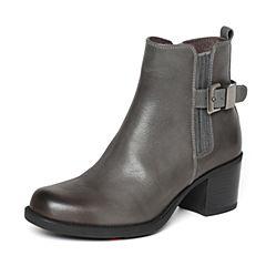Bata/拔佳冬季专柜同款兰灰简约粗跟牛皮女皮靴短靴(软)AT341DD6