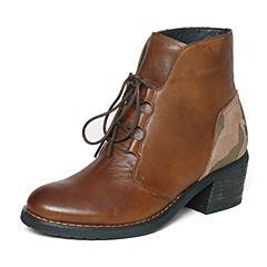 Bata/拔佳冬季专柜同款时尚拼色迷彩牛皮女短靴AU541DD6
