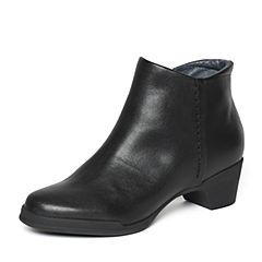 Bata/拔佳冬季专柜同款黑色简约粗跟小牛皮女短靴(软)AV443DD6