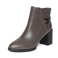 Bata/拔佳冬季专柜同款灰色时尚金属装饰粗跟羊皮女短靴09-10DD6
